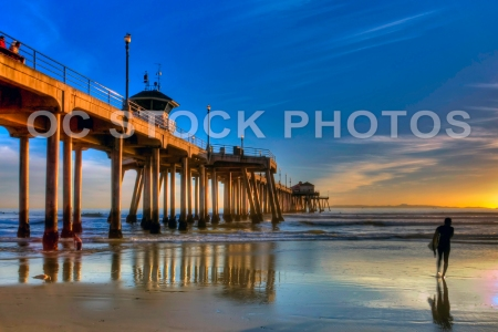 Huntington Beach Pier with Surfer