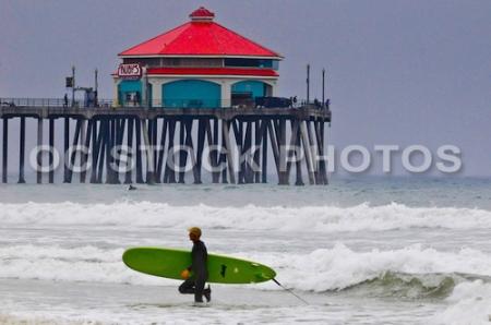 Surfing At Huntington Beach Pier