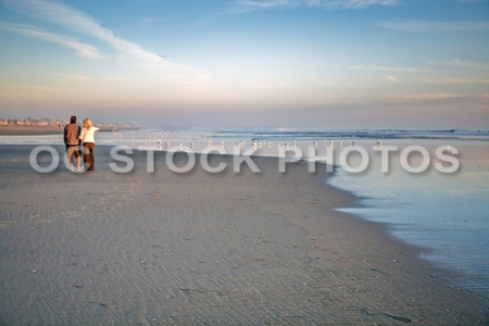 Couple Walking along the Beach at Low Tide